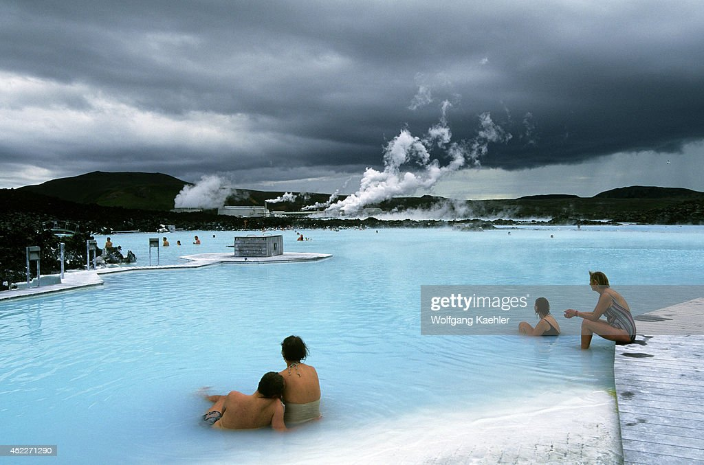 Icelandnear Reykjavikblue Lagoon Thermal Area Spapeople In Poolpower Station In Background