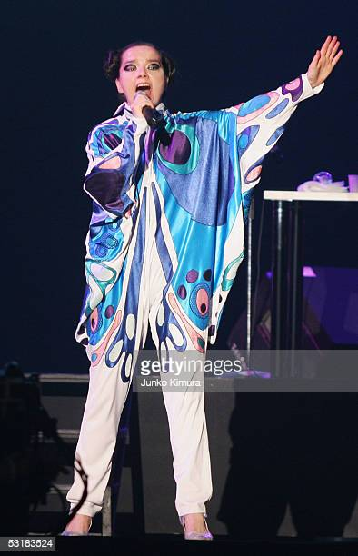 Iceland's Bjork performs on stage at 'Live 8 Japan' at Makuhari Messe on July 2 2005 in Chiba east of Tokyo Japan The free concert is one of ten...