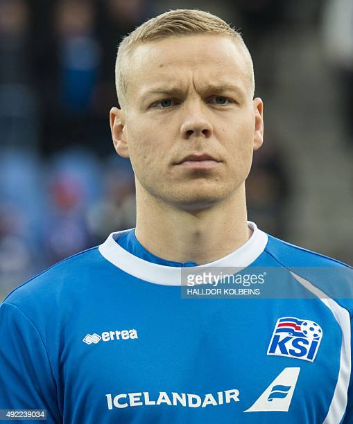 Iceland's captain Kolbeinn Sigthorsson poses for a team picture prior to the Euro 2016 Group A qualifying football match between Iceland and Latvia...