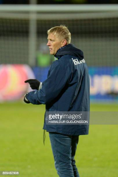 Iceland's coach Heimir Hallgrimsson stands on the sidelines during the FIFA World Cup 2018 qualification football match between Iceland and Kosovo in...