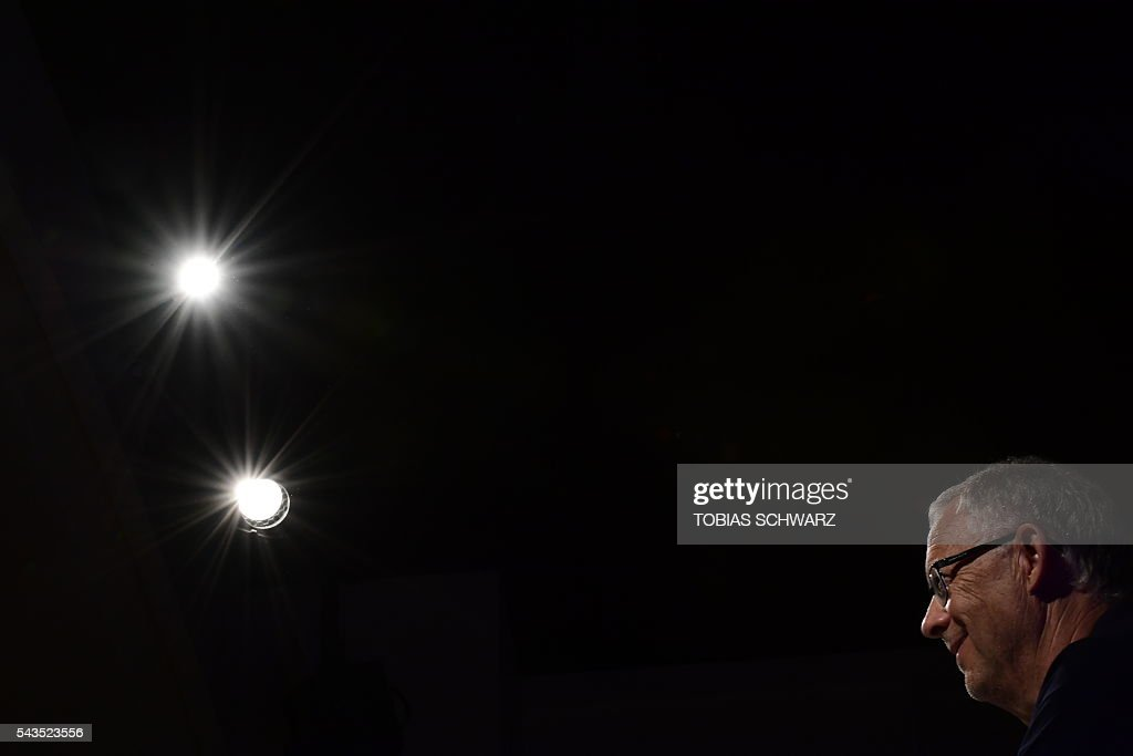 Iceland's coach Lars Lagerbaeck gives a press conference, on June 29, 2016 in Annecy, four days ahead of the team's quarter final match against France as part of the Euro 2016 European football championship. / AFP / TOBIAS