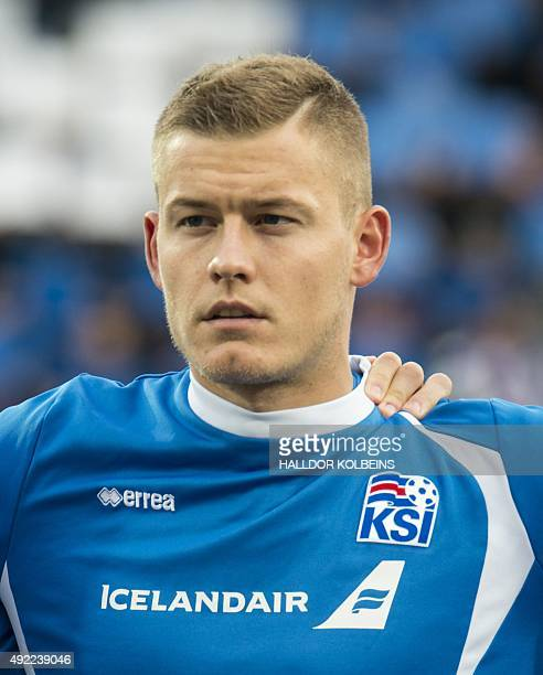Iceland's defender Ari Skulason poses for a team picture prior to the Euro 2016 Group A qualifying football match between Iceland and Latvia in...