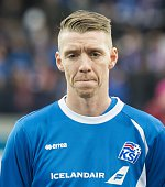 Iceland's defender Birkir Sævarsson poses for a team picture prior to the Euro 2016 Group A qualifying football match between Iceland and Latvia in...