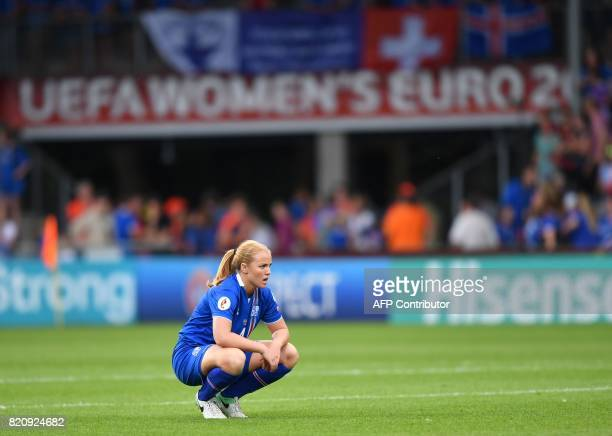 Iceland's defender Glodis Viggosdottir reacts after losing the UEFA Womens Euro 2017 football tournament match between Iceland and Switzerland at...