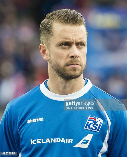 Iceland's defender Kari Arnason poses for a team picture prior to the Euro 2016 Group A qualifying football match between Iceland and Latvia in...