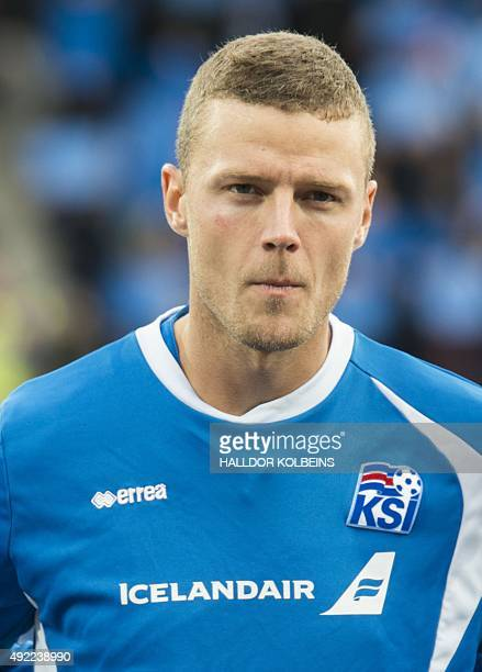 Iceland's defender Ragnar Sigurdsson poses for a team picture prior to the Euro 2016 Group A qualifying football match between Iceland and Latvia in...