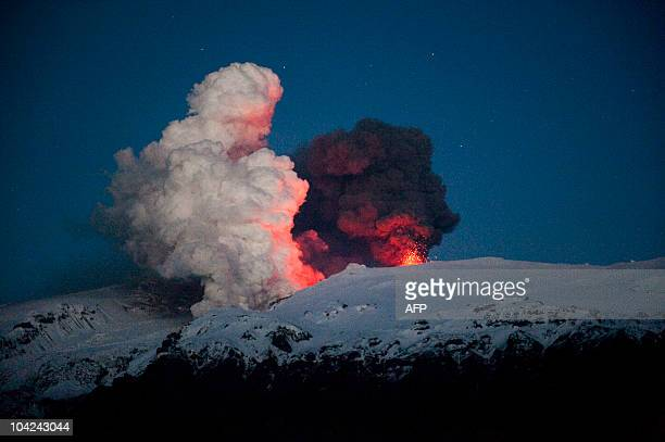 Iceland's Eyjafjoell volcano continues spewing ash and steam early on May 2 2010 near Hvolsvöllur Britain and Ireland grounded flights again on May 5...