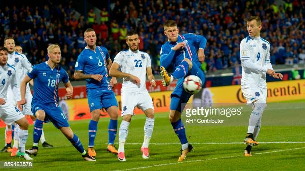 Iceland's forward Johann Berg Gudmundsson vies for the ball during the FIFA World Cup 2018 qualification football match between Iceland and Kosovo in...