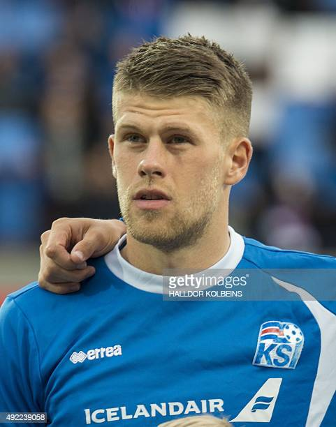 Iceland's forward Johann Gudmundsson poses for a team picture prior to the Euro 2016 Group A qualifying football match between Iceland and Latvia in...