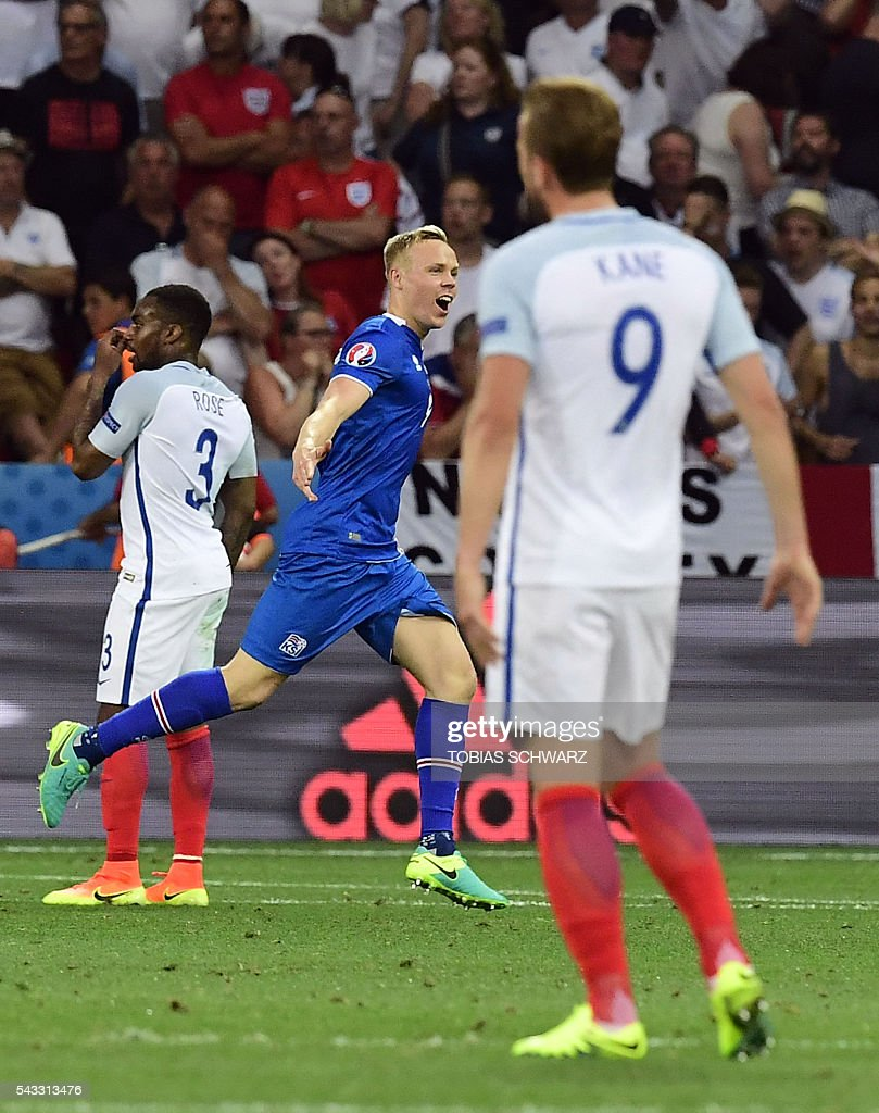 Iceland's forward Kolbeinn Sigthorsson celebrates scoring Iceland's second goal during Euro 2016 round of 16 football match between England and Iceland at the Allianz Riviera stadium in Nice on June 27, 2016. / AFP / TOBIAS