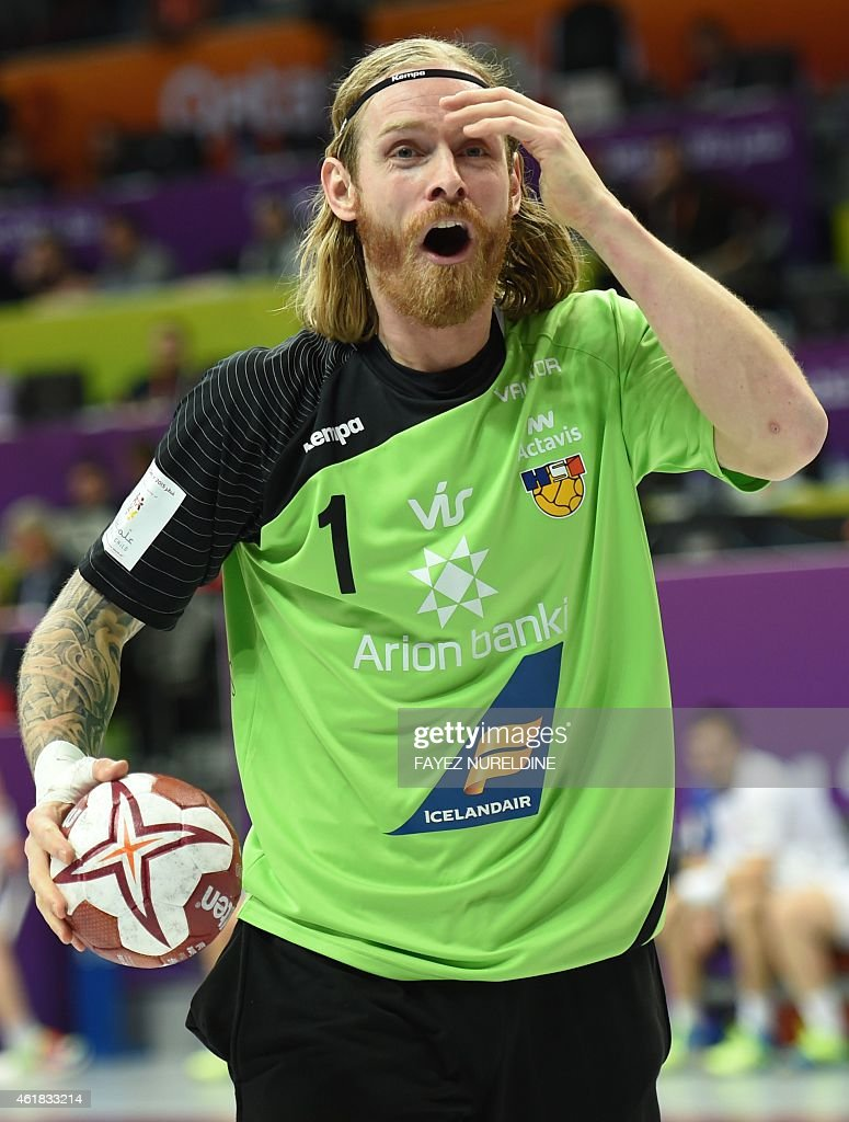 Iceland's goal keeper Bjorgvin Pall Gustavsson shouts during the 24th Men's Handball World Championships preliminary round Group C match between Iceland and France at the Duhail Handball Sports Hall in Doha on January 20, 2015.