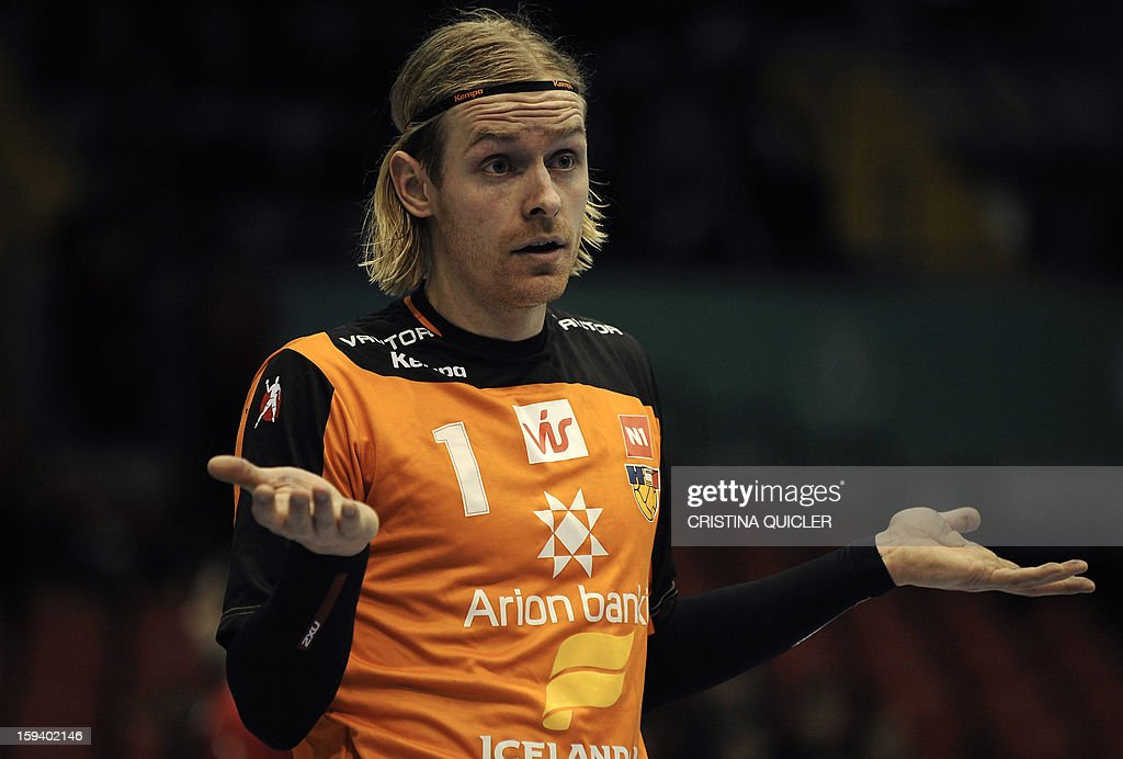 Iceland's goalkeeper Bjorgvin Pall Gustavsson reacts during the 23rd Men's Handball World Championships preliminary round Group B match Chile vs Iceland at the Palacio de Deportes San Pablo in Sevilla on January 13, 2013.
