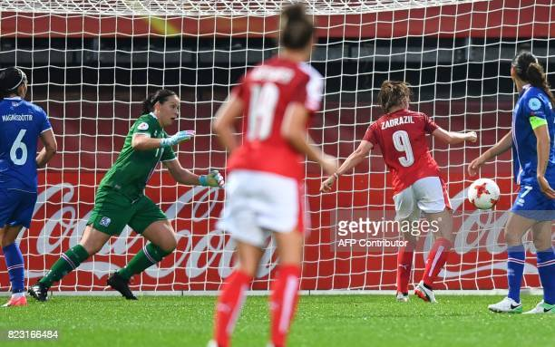 Iceland's goalkeeper Gudbjorg Gunnarsdottir reacts as Austria's Sarah Zadrazil kicks the ball to score during the UEFA Women's Euro 2017 football...