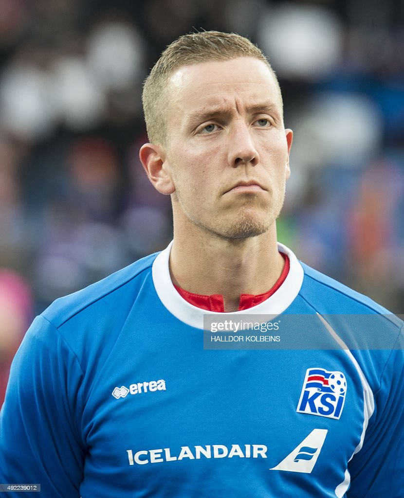 Iceland's goalkeeper Hannes Halldor poses for a team picture prior to the Euro 2016 Group A qualifying football match between Iceland and Latvia in...