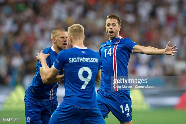 Iceland's Kolbeinn Sigthorsson celebrates scoring his sides second goal with team mate Kari Arnason during the UEFA Euro 2016 Round of 16 match...