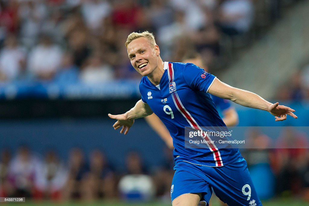 Iceland's Kolbeinn Sigthorsson celebrates scoring his sides second goal during the UEFA Euro 2016 Round of 16 match between England and Iceland at Allianz Riviera Stadium on June 27 in Nice, France.