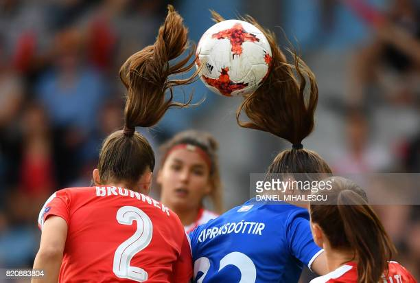Iceland's midfielder Fanndis Fredrikstad vies with Switzerland's defender Jana Brunner during the UEFA Womens Euro 2017 football tournament match...