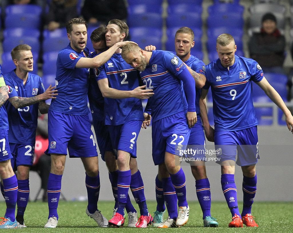 Iceland's players celebrate after scoring a goal during the Euro 2016 qualifying football match between Kazakhstan and Iceland in Astana on March 28...