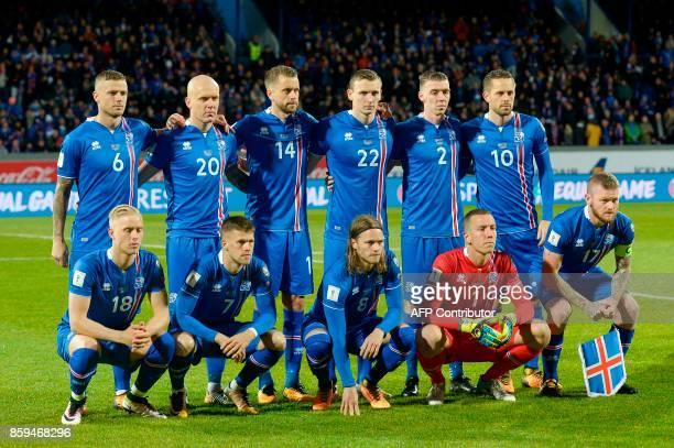 Iceland's players defender Ragnar Sigurdsson Emil Hallfredsson defender Kari Arnason forward Jon Dadi Bodvarsson defender Birkir Saevarsson and...