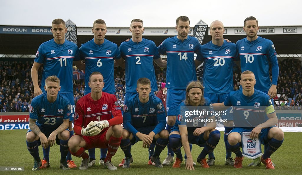 Iceland's players pose for a team picture prior to the Euro 2016 Group A qualifying football match between Iceland and Latvia in Reykjavik on October...