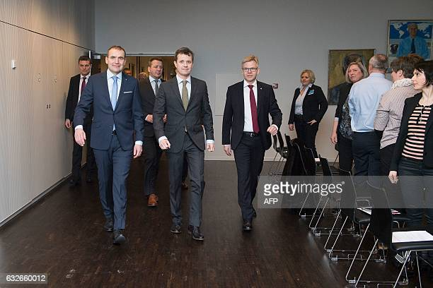 Iceland's President Gudni Johannesson and Crown Prince Frederik of Denmark visit a seminar at the Confederation of Danish Industry in Copenhagen on...