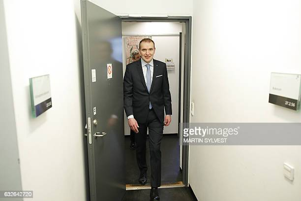 Iceland's President Gudni Johannesson enters an archive as he visits the collection of Arnamagnaean Manuscript items at the University of Copenhagen...
