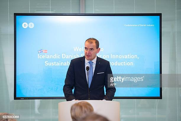 Iceland's President Gudni Johannesson gives a speech as he visits a seminar at the Confederation of Danish Industry in Copenhagen on January 25 2017...