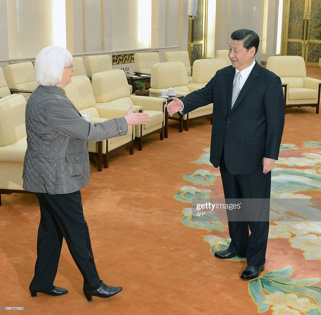 Iceland's prime minister Johanna Sigurdardottir (L) shakes hands with Chinese President Xi Jinping during a meeting at the Great Hall of the People in Beijing April 16, 2013. Iceland on April 15 became the first European country to sign a free trade agreement with China, as Beijing looks to gain a foothold in the strategic Arctic region.
