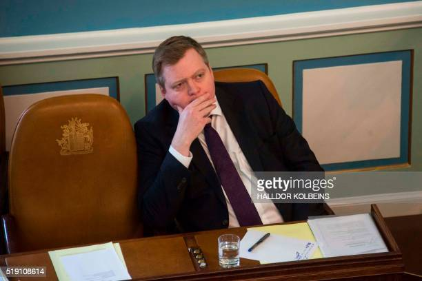 Icelands Prime Minister Sigmundur David Gunnlaugsson attends a session of parliament in Reykjavik Iceland on April 4 2016 Iceland's prime minister...