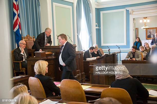 Icelands Prime Minister Sigmundur David Gunnlaugsson leaves after addressing a session of parliament in Reykjavik Iceland on April 4 2016 Iceland's...