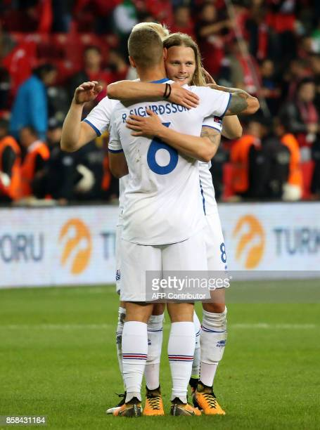 Iceland`s Ragnar Sigurdsson and Birkir Bjarnason embraces as they celebrate after their win following the FIFA World Cup 2018 qualification football...