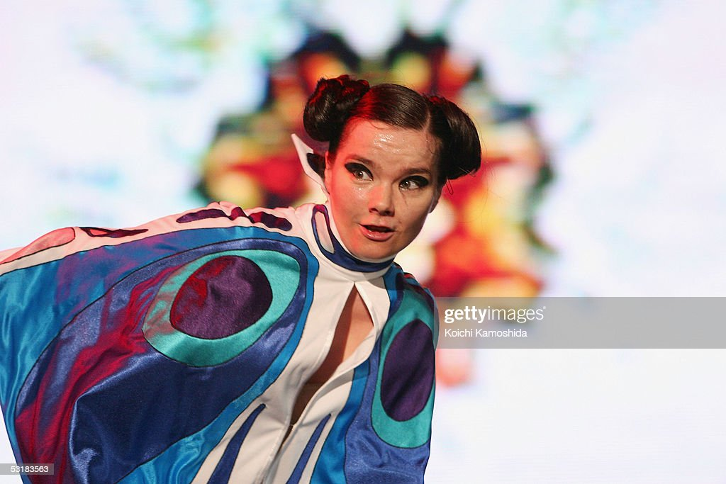 Iceland's rock singer Bjork performs on stage at 'Live 8 Japan' at Makuhari Messe on July 2, 2005 in Chiba, east of Tokyo, Japan. The free concert is one of ten simultaneous international gigs including Philadelphia, Berlin, Rome, Paris, Barrie, London, Cornwall, Moscow and Johannesburg. The concerts precede the G8 summit (July 6-8) to raise awareness for MAKEpovertyHISTORY.