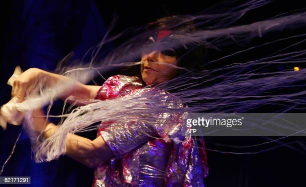 Iceland's singer Bjork performs during her concert at the Kurucesme Arena in Istanbul on August 3 2008 AFP PHOTO / LYDIA MUTSCHMANN