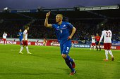Iceland's striker Kolbeinn Sigthorsson celebrates scoring the 30 goal during the UEFA Euro 2016 Group A qualifying football match Iceland vs Turkey...