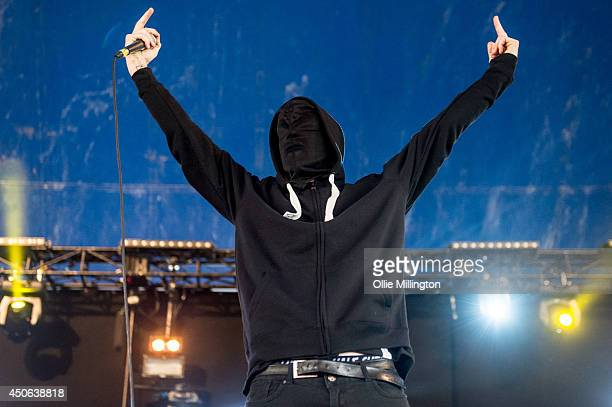 Iceman Thesis a secretive group with unknown indentities performs a one off show on stage at Download Festival at Donnington Park on June 14 2014 in...