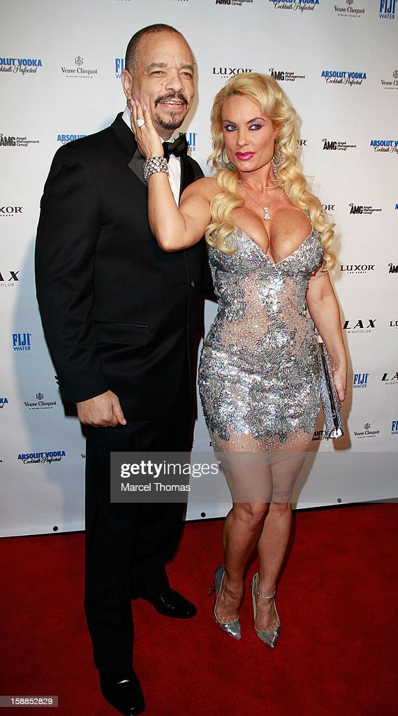 <a gi-track='captionPersonalityLinkClicked' href=/galleries/search?phrase=Ice-T&family=editorial&specificpeople=213017 ng-click='$event.stopPropagation()'>Ice-T</a> and wife Nicole '<a gi-track='captionPersonalityLinkClicked' href=/galleries/search?phrase=Coco&family=editorial&specificpeople=207511 ng-click='$event.stopPropagation()'>Coco</a>' Austin host New Year's Eve at LAX nightclub on December 31, 2012 in Las Vegas, Nevada.