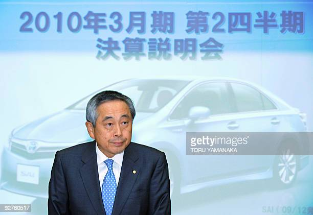 Ichimaru Yoichiro executive vice president of Japanese auto giant Toyota Motor appears at a press conference in Tokyo on November 5 2009 The world's...