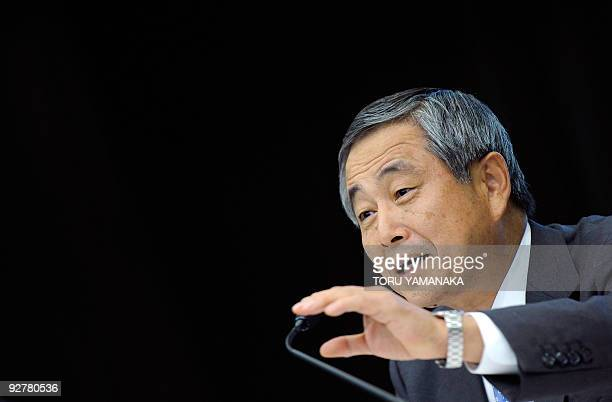 Ichimaru Yoichiro executive vice president of Japanese auto giant Toyota Motor answers questions at a press conference in Tokyo on November 5 2009...