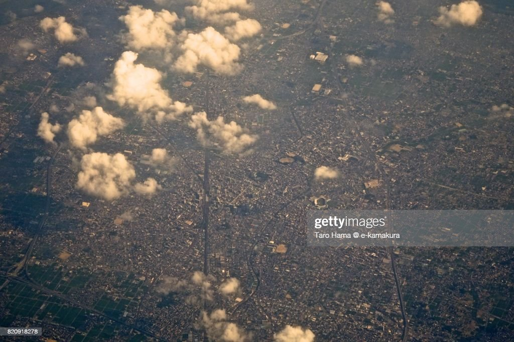 Ichinomiya city in Aichi prefecture day time aerial view from airplane : ストックフォト