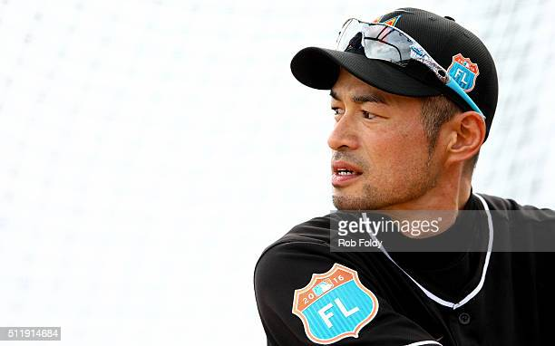 Ichiro Suzuki bats during a Miami Marlins workout on February 23 2016 in Jupiter Florida