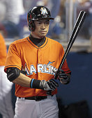 Ichiro Suzuki looks downcast after being struck out during the seventh inning of the Miami Marlins' 30 loss to the New York Mets at Marlins Park in...