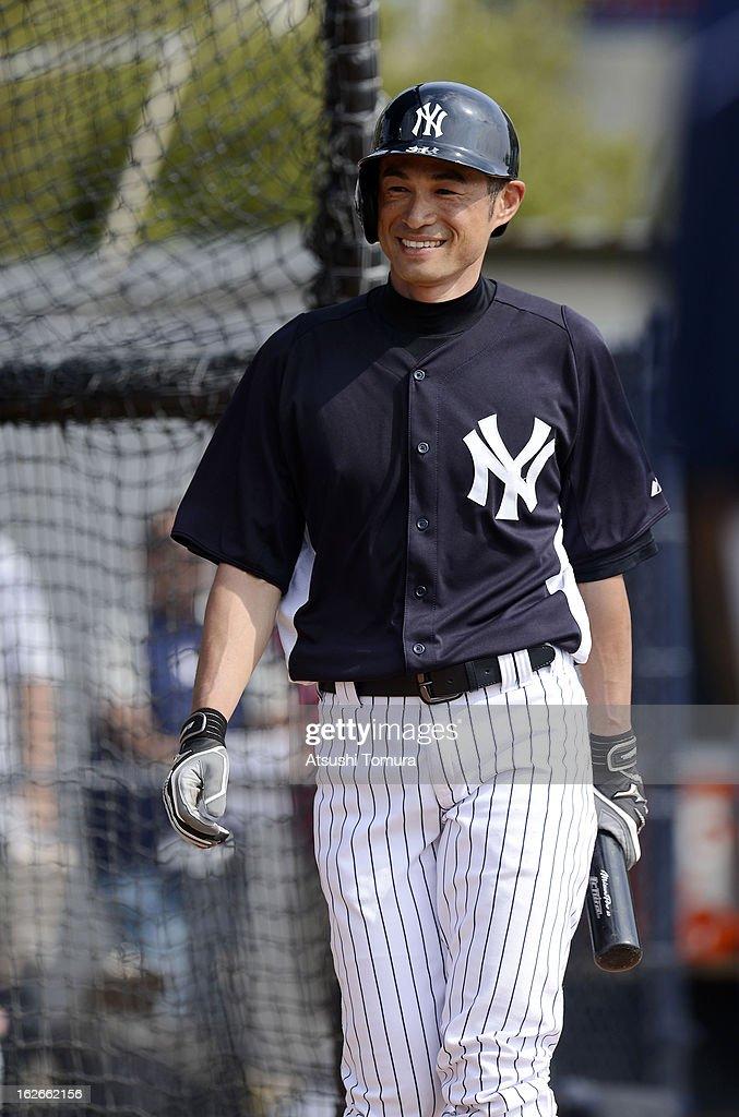 Ichiro Suzuki #31 of New York Yankees looks on during the New York Yankees spring training on February 25, 2013 in Tampa, Florida.