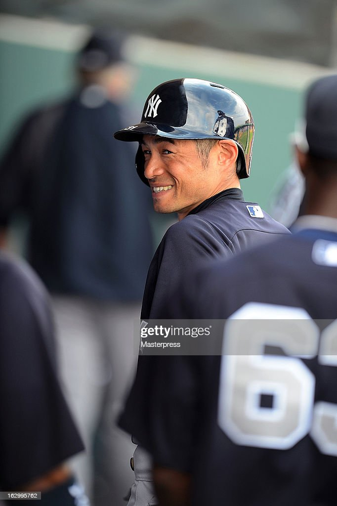Ichiro Suzuki #31 of New York Yankees looks on in the dugout during the spring training game against Philadelphia Phillies at Bright House Networks Field on February 26, 2013 in Clearwater, Florida.