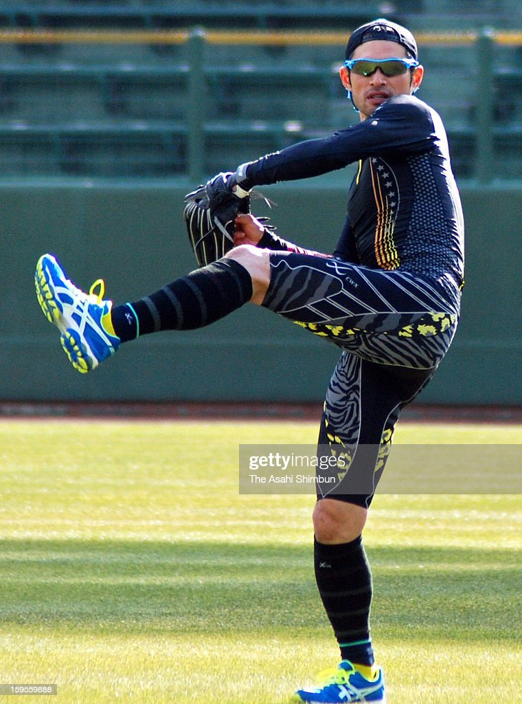 Ichiro Suzuki of New York Yankees throws during his off season training at Hotto Motto Field Kobe on January 15, 2013 In Kobe, Hyogo, Japan.