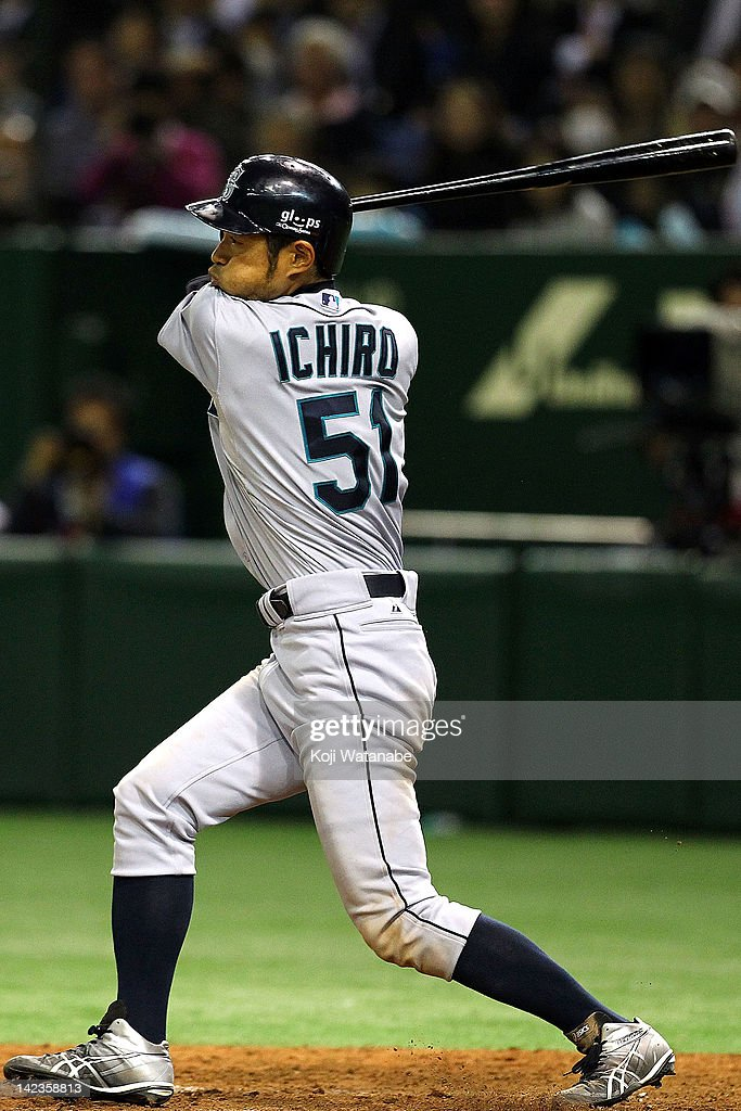 Ichiro Suzuki of Seattle Mariners at bat during the MLB Opening game between Seattle Mariners and Yomiuri Giants at Tokyo Dome on March 28, 2012 in Tokyo, Japan.