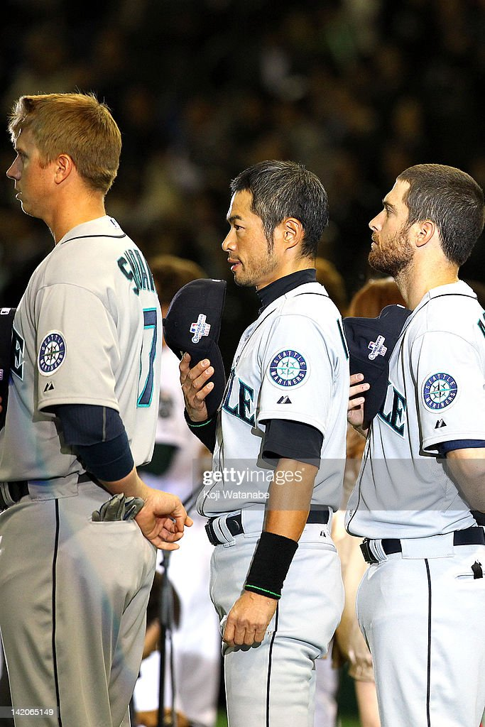 <a gi-track='captionPersonalityLinkClicked' href=/galleries/search?phrase=Ichiro+Suzuki&family=editorial&specificpeople=201556 ng-click='$event.stopPropagation()'>Ichiro Suzuki</a> #51 of Seattle Mariners lines up for the national anthem before playing against the Oakland Athletics in a MLB game at Tokyo Dome on March 29, 2012 in Tokyo, Japan. The A's defeated the Mariners 4-1.