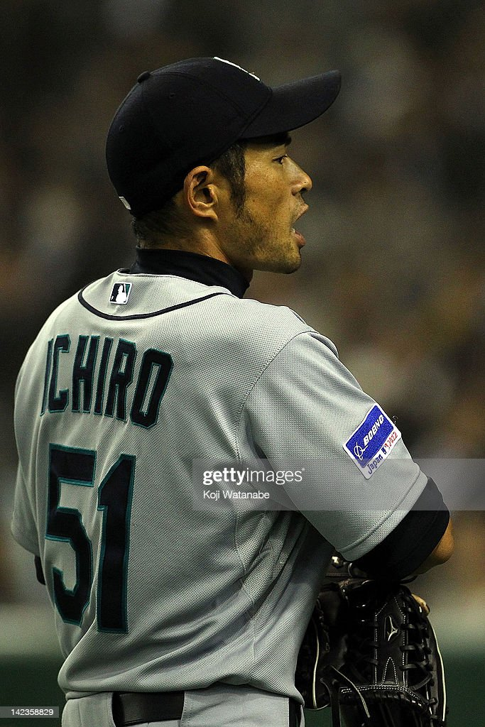 Ichiro Suzuki of Seattle Mariners looks on during the MLB Opening game between Seattle Mariners and Yomiuri Giants at Tokyo Dome on March 28, 2012 in Tokyo, Japan.