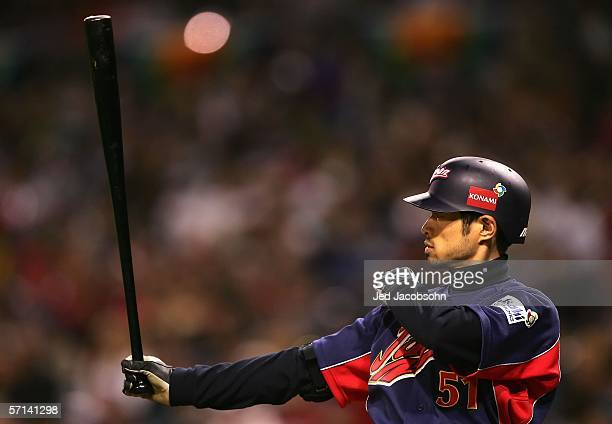 Ichiro Suzuki of Team Japan bats against Team Cuba during the Final game of the World Baseball Classic at Petco Park on March 20 2006 in San Diego...