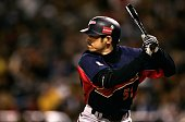Ichiro Suzuki of Team Japan bats against Team Korea during the Semi Final game of the World Baseball Classic at Petco Park on March 18 2006 in San...