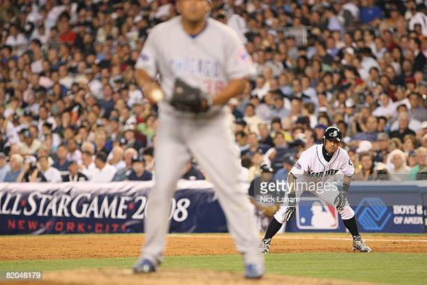 Ichiro Suzuki of the American League AllStars leads off the base against the National League AllStars during the 79th MLB AllStar Game at Yankee...